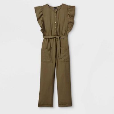 Girls' Button-Front Belted Woven Ruffle Sleeve Jumpsuit - art class™ Green