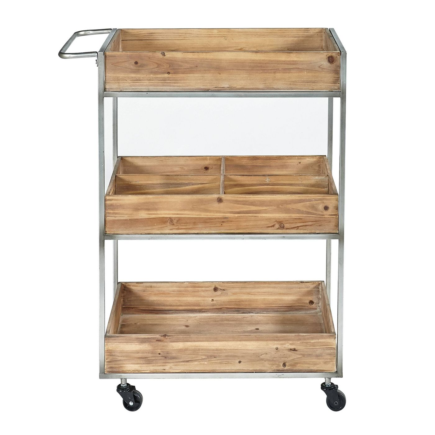 Buford Metal and Wood Cart Natural - Linon - image 2 of 8