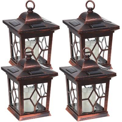 "Sunnydaze Outdoor Lucien Hanging Tabletop Solar LED Rustic Farmhouse Decorative Candle Lantern - 9 - Copper - 4pk"""