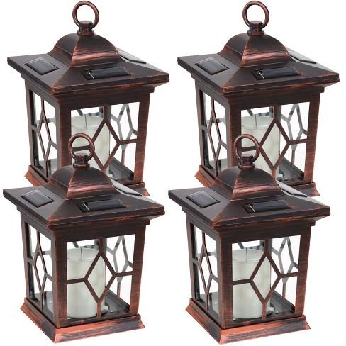 "Sunnydaze Outdoor Lucien Hanging Tabletop Solar LED Rustic Farmhouse Decorative Candle Lantern - 9"" - Copper - 4pk - image 1 of 4"