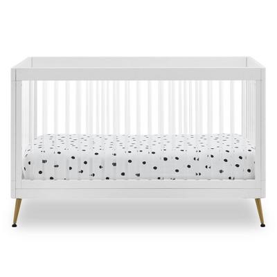 Delta Children Sloane 4-in-1 Acrylic Convertible Crib - Bianca White/Bronze