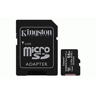 Kingston 64GB microSDHC Canvas Select Plus 100MB/s Read A1 Class 10 UHS-I Memory Card + Adapter (SDCS2/64GB)