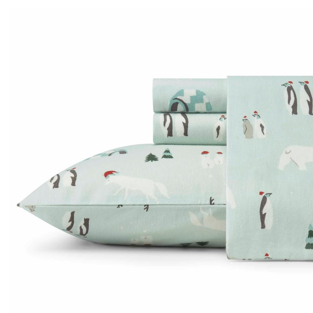 Twin Flannel Sheet Set Mint Winter Gathering - Eddie Bauer
