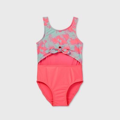 Toddler Girls' Tie-Dye Peek A Boo Tie-Front One Piece Swimsuit - Cat & Jack™ Pink/Blue