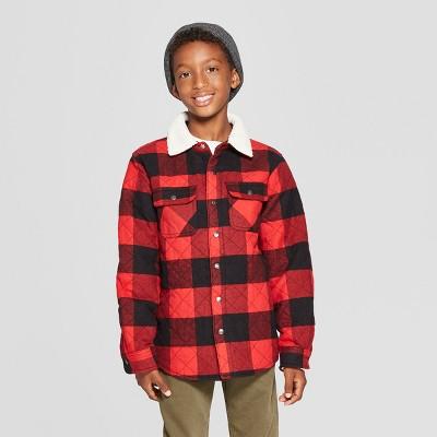 Boys' Sherpa Collar Long Sleeve Button-Down Shirt - Cat & Jack™ Red/Black