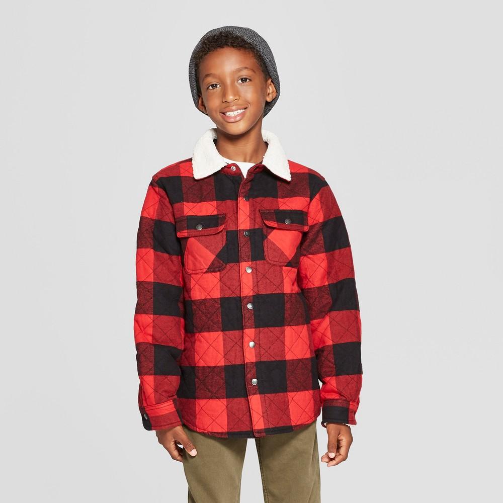 Boys' Sherpa Collar Long Sleeve Button-Down Shirt - Cat & Jack Red/Black L