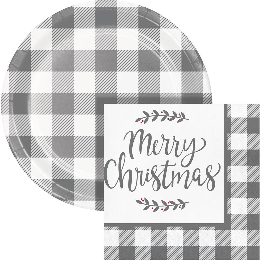 Buffalo Check Christmas Snack Kit Gray White