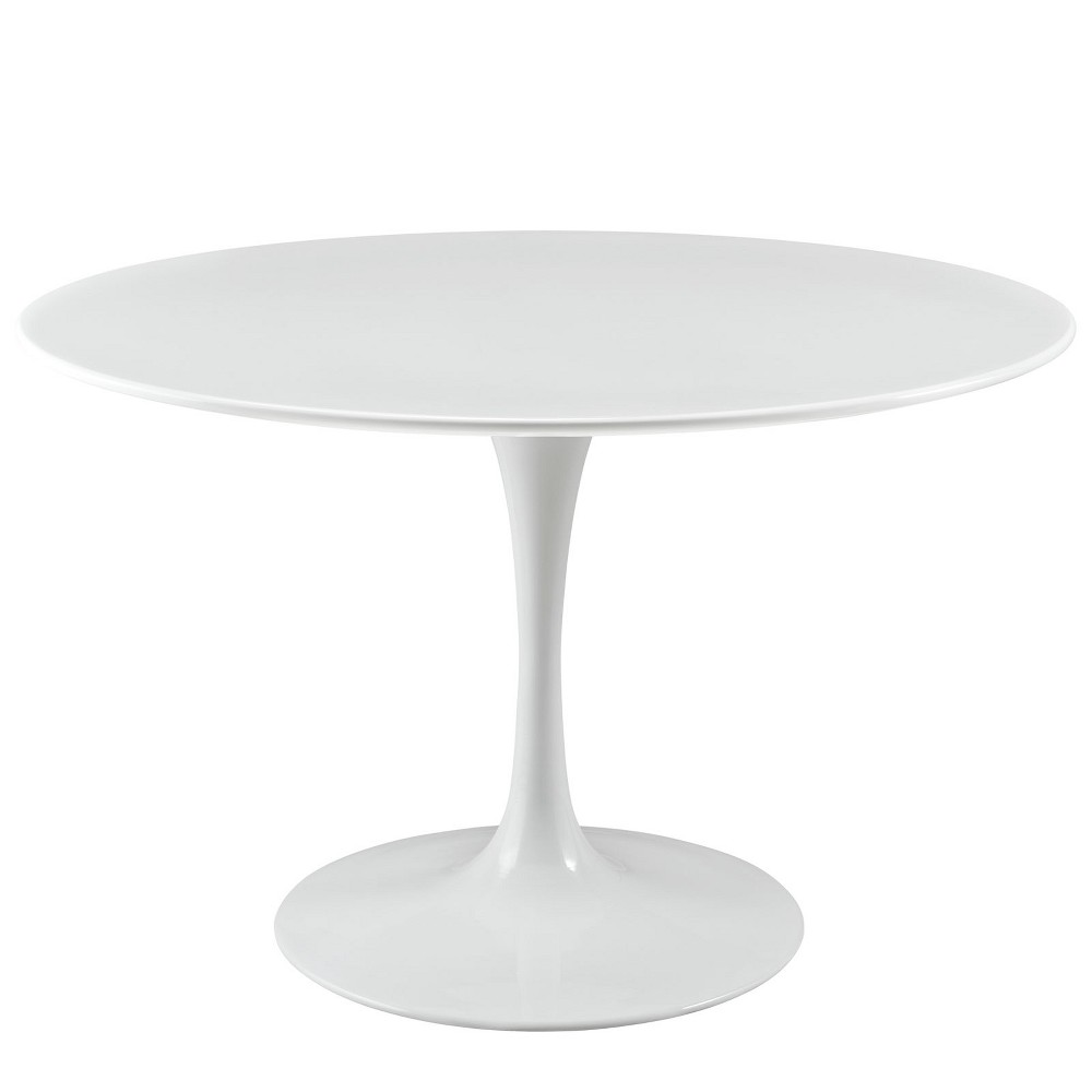 Lippa 47 Round Wood Top Dining Table White - Modway