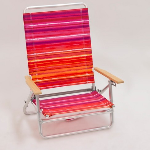 Outdoor Portable Beach Chair - Red/Orange/Purple Stripe - Evergreen - image 1 of 3