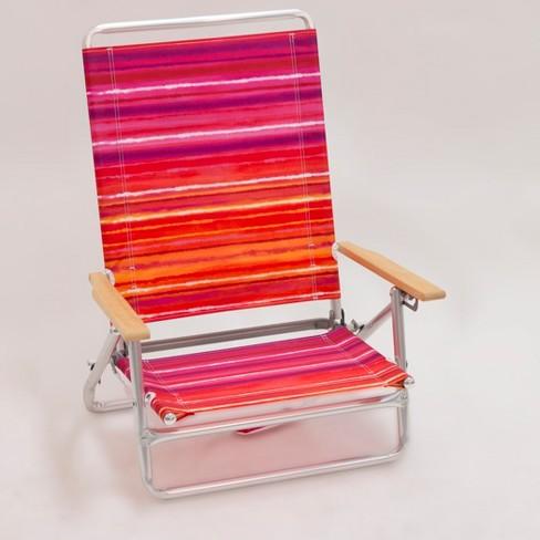 Outdoor Portable Beach Chair Red Orange Purple Stripe Evergreen