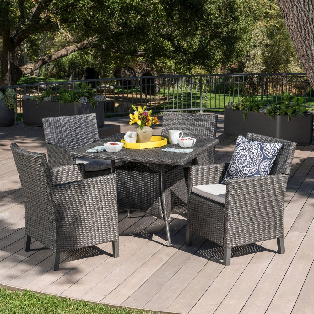 Cypress 5pc Wicker Square Dining Set - Gray - Christopher Knight Home
