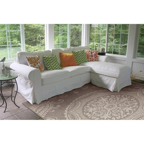 georgian rectangle patio rug graycream balta rugs target - Patio Rugs