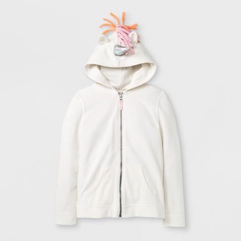 271485d40 Girls' Adaptive Unicorn Zip-Up Hoodie - Cat & Jack™ Cream : Target