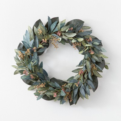 "26"" Artificial Olive/Eucalyptus Leaf with Berry Wreath - Threshold™ designed with Studio McGee"