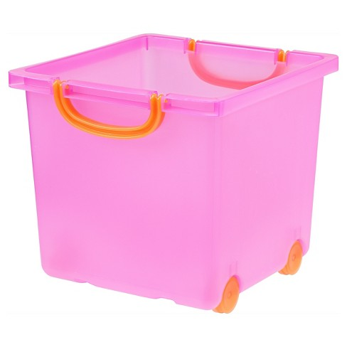 IRIS Plastic Storage Toy Bin Pack, Pink - image 1 of 4