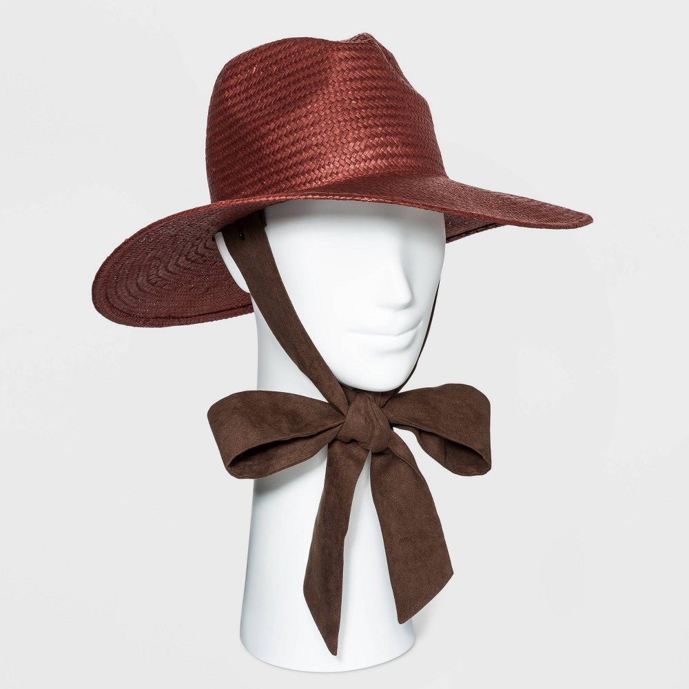Tea Party Hats – Victorian to 1950s Womens Straw Panama Hat with Ties - Universal Thread Rust RedBrown $24.00 AT vintagedancer.com