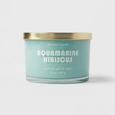 15oz Lidded Glass Jar 3-Wick Solid Turquoise Aquamarine Hibiscus Candle - Opalhouse™