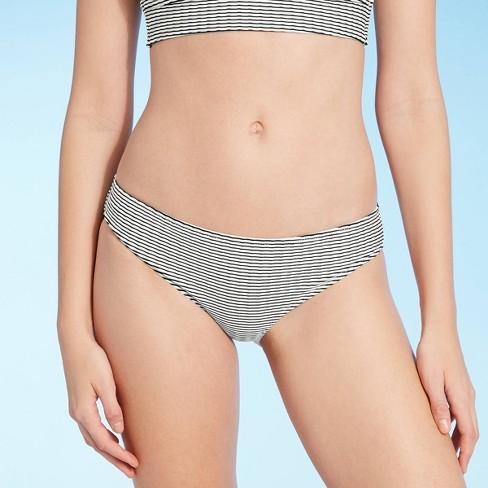 Women's Ribbed Hipster Bikini Bottom - Shade & Shore™ Black & White Stripe - image 1 of 4