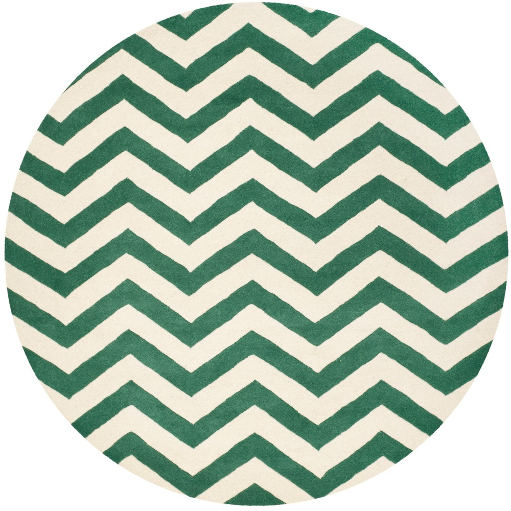 5' Chevron Tufted Round Area Rug Teal/Ivory (Blue/Ivory) - Safavieh