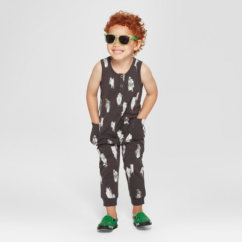 Toddler Boys' Print Sleeveless Romper - Cat & Jack™ Black - image 1 of 3