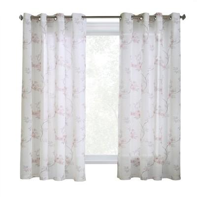 "Commonwealth Habitat Blossom Window Grommet Top Panel With 8 Silver Grommets, 1"" Side Hems & 3"" Bottom Hem"