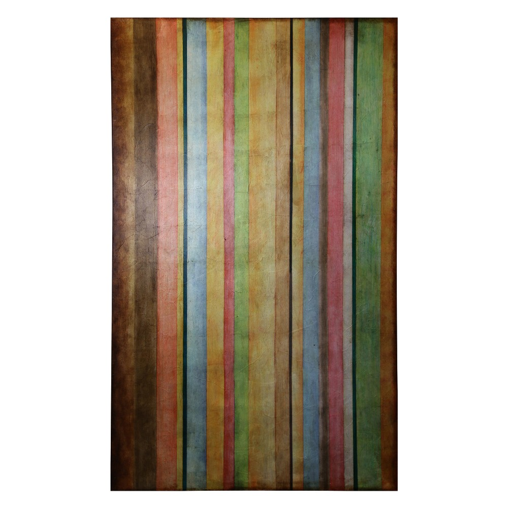 36 Colorful Stripes Hand Painted with Foil Application Stretched Canvas Decorative Wall Art - StyleCraft, Multi-Colored
