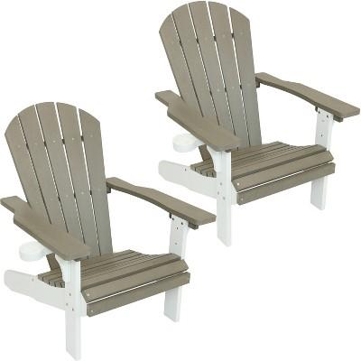 All-Weather Adirondack Chair - Set of 2 - Gray/White - Sunnydaze Decor