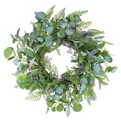 Northlight Lavender and Catnip Twig Artificial Floral Wreath, Purple 22-Inch