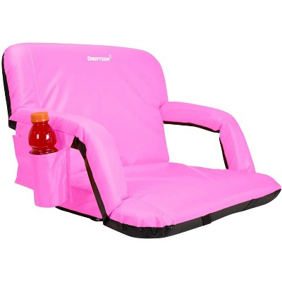 Driftsun Extra Wide Padded Folding Portable 6 Position Reclining Cushioned Stadium Seat Chair with Side Cup Holder and Backpack Carry Straps, Pink