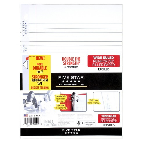 Five Star® Filler Paper Wide Ruled Reinforced 100ct - image 1 of 1