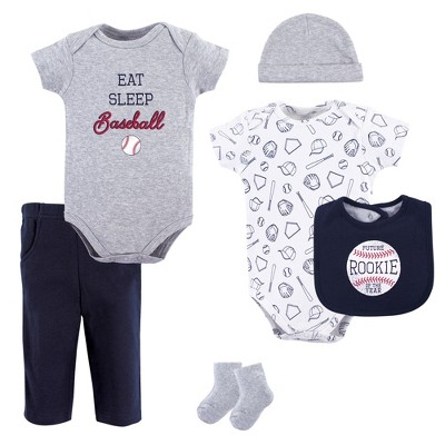Hudson Baby Infant Boy Cotton Layette Set, Baseball