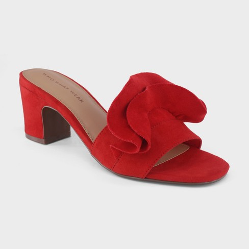 Women's Ruffle Heeled Slide Sandals - Who What Wear™ - image 1 of 3