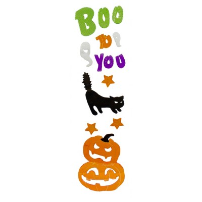 Northlight Green and Orange Boo To You Halloween Gel Window Clings