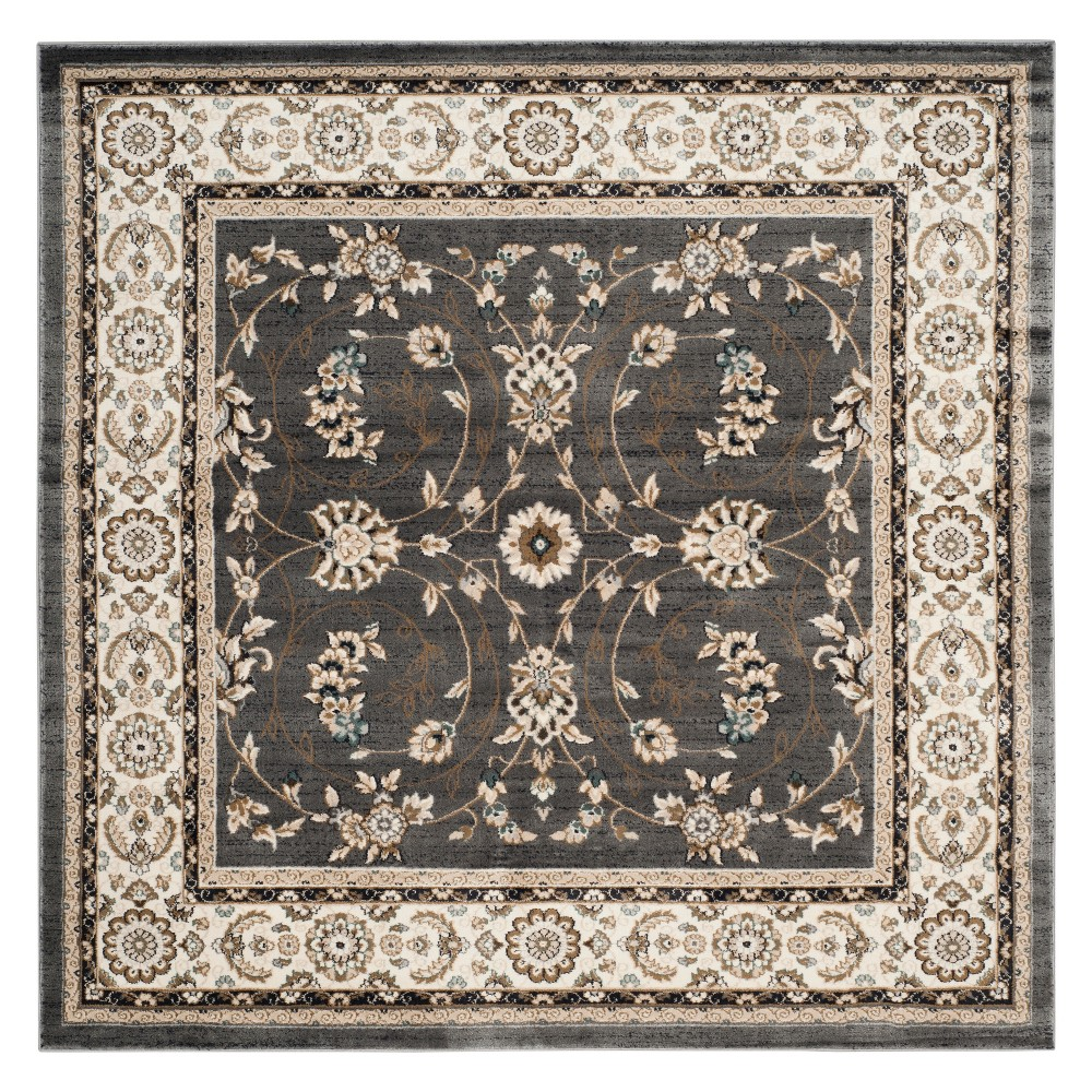 7'X7' Floral Loomed Square Area Rug Gray/Cream (Gray/Ivory) - Safavieh