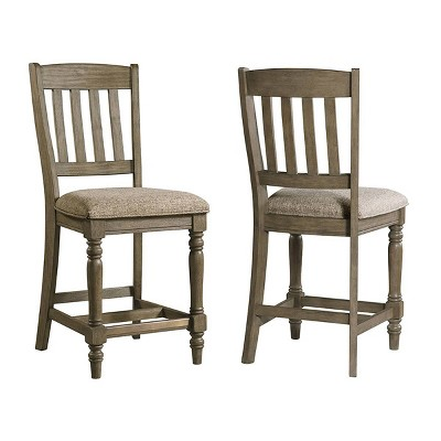 "Set of 2 24"" Balbao Park Slat Back Counter Height Barstools with Cushion Seat Roasted Oak - Intercon"