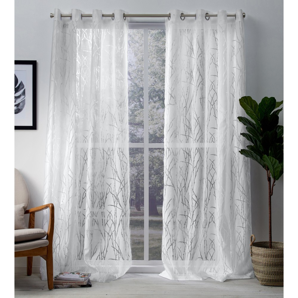 """Image of """"Edinburgh Branch Sheer Burnout Grommet Top Window Curtain Panel Pair White 52x108 - Exclusive Home, Size: 52""""""""x108"""""""""""""""