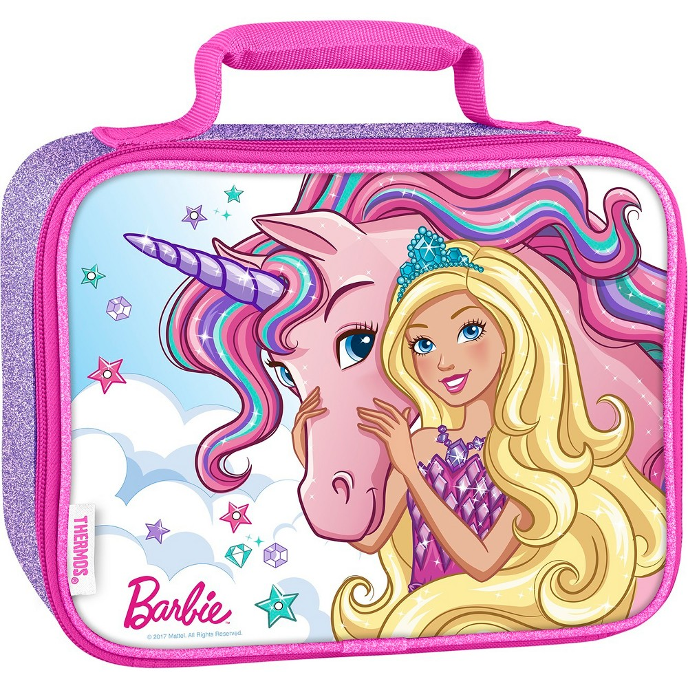 Thermos Shopkins Barbie Lunch Bag - Pink This soft lunch bag from GENIUNE THERMOS BRAND is a great choice for kids to take their lunch to school. Decorated with brightly colored and detailed graphics, this lunch bag features a comfortable, padded carrying handle and premium foam insulation to keep lunches cooler and fresher. Color: Pink. Pattern: fictitious character.