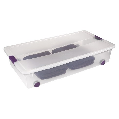 Sterilite Clearview Latch Underbed Storage Bin Clear With Purple 60qt Target