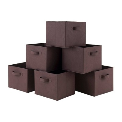 Set of 6 Capri Foldable Fabric Baskets Chocolate - Winsome