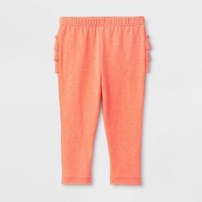 Baby Girls' Solid Leggings - Cat & Jack™ Neon Peach 0-3M