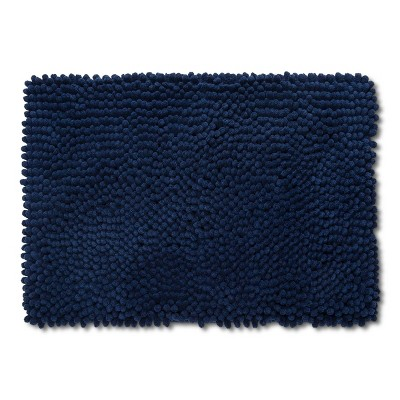 "17""x24"" Chunky Chenille Memory Foam Bath Rug Dark Blue - Room Essentials™"