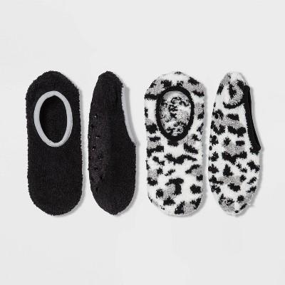 Women's Leopard Print 2pk Cozy Pull-On Liner Socks - Cream/Black 4-10