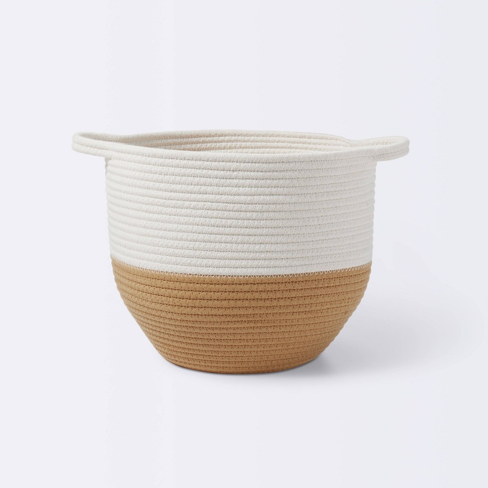 Coiled Rope Round Bottom Storage Bin With Color Band Cloud Island 8482 Tan Cream M