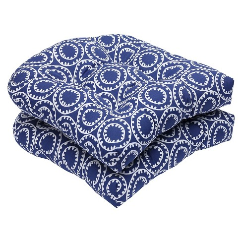 Pillow Perfect Ring a Bell 2-Piece Outdoor Wicker Seat Cushion Set - Blue - image 1 of 1