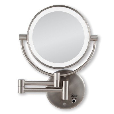 Zadro Next Generation Cordless or AC LED Lighted Wall-Mount Mirror, 10X / 1X Power - Satin Nickel