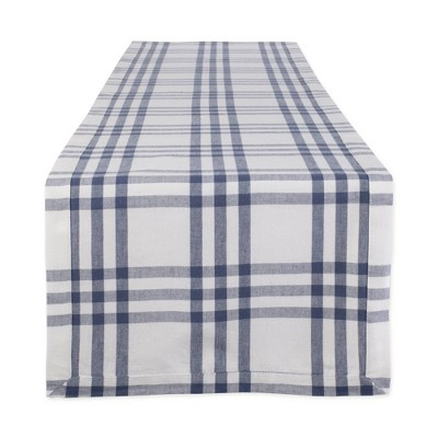 "108"" x 14"" Cotton Farm To Table Checked Table Runner Blue - Design Imports"