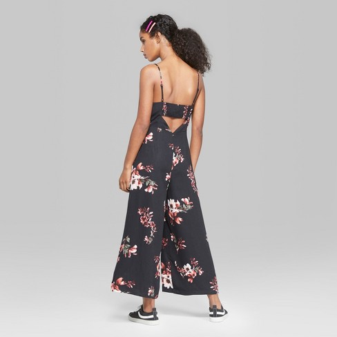 37067be31430 Women s Floral Print Strappy Square Neck Jumpsuit - Wild Fable™ Black XS    Target