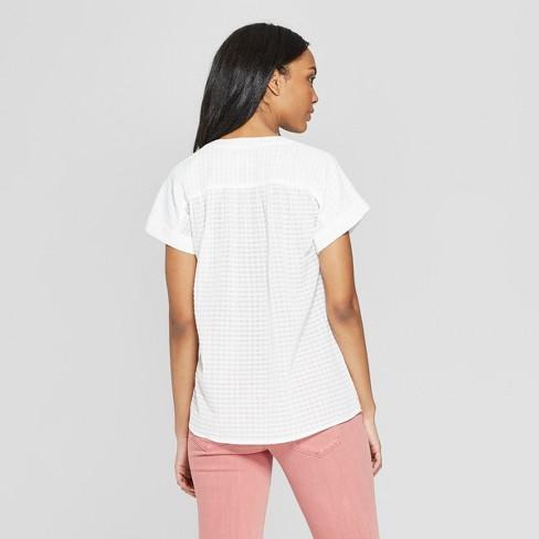 f0963977c4e Women s Short Sleeve Striped Blouse - Universal Thread™ White   Target