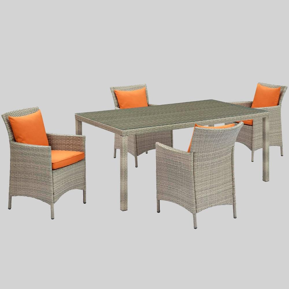 5pc Conduit Outdoor Patio Wicker Rattan Dining Set Light Gray Orange Modway