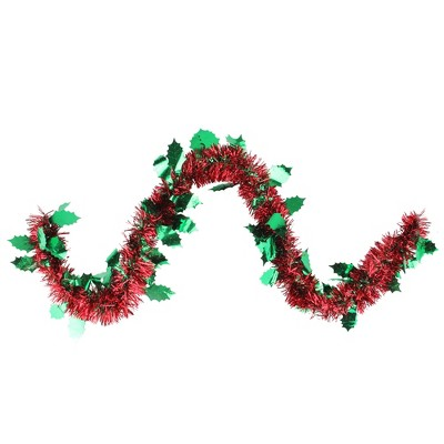 """Northlight 50' x 4.5"""" Unlit Shiny Red Tinsel with Green Holly Christmas Garland"""